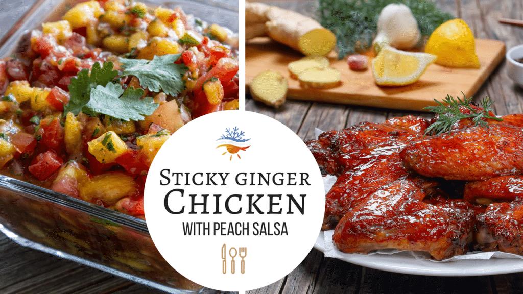 Sticky ginger chicken with peach salsa